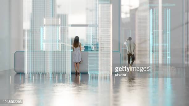 futuristic office - small group of people stock pictures, royalty-free photos & images