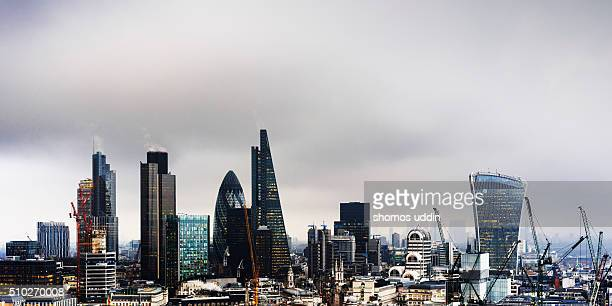Futuristic office towers in city of London