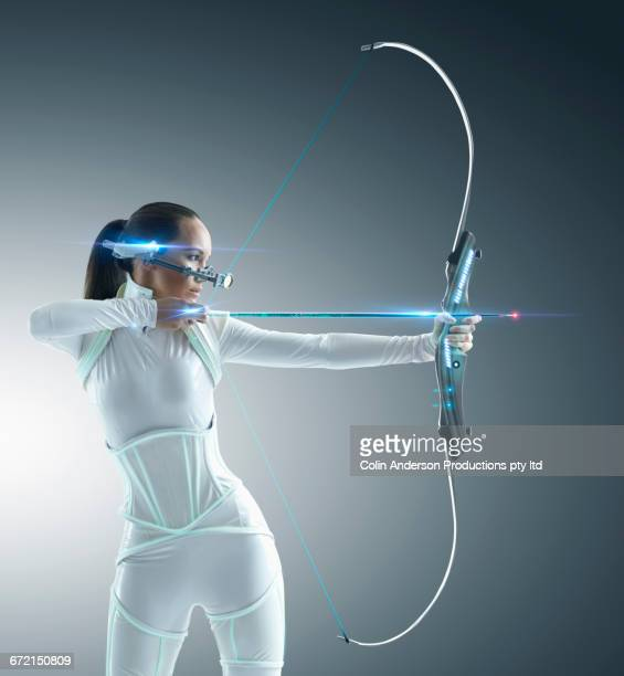 Futuristic Pacific Islander archer using hi-tech bow and arrow