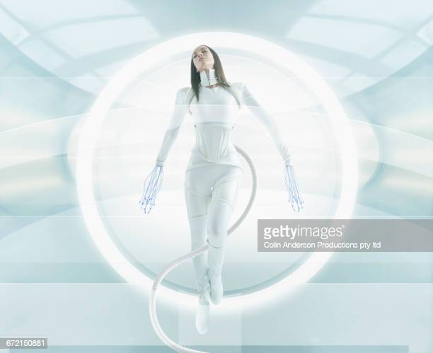 Futuristic Pacific Islander woman android attached to hose