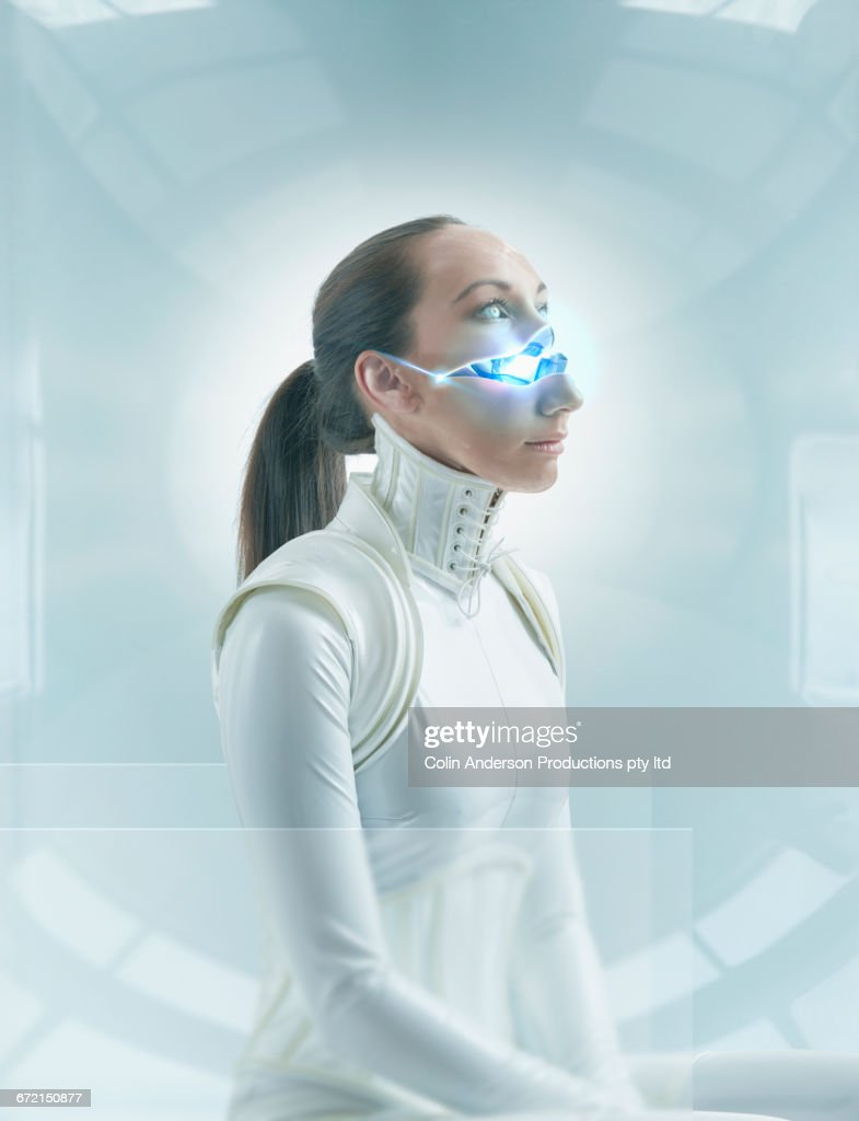 Futuristic Pacific Islander woman android tilting open face : Stock Photo