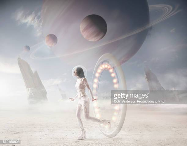 Futuristic Pacific Islander woman entering planet from wormhole