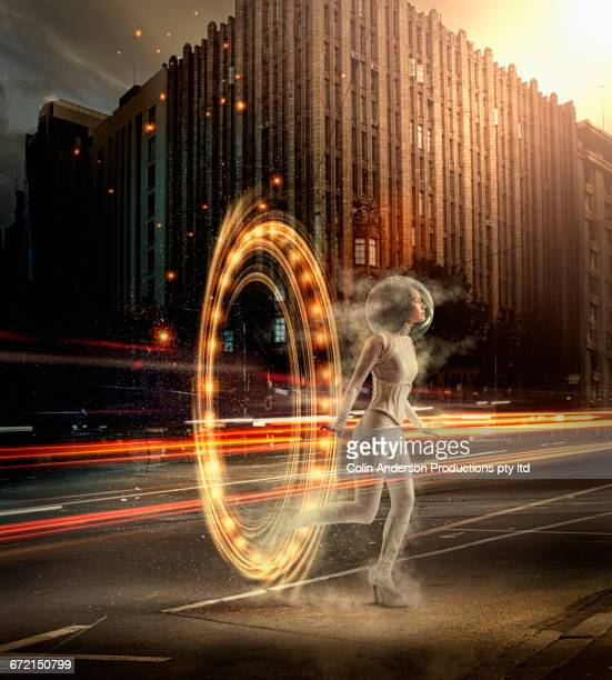 Futuristic Pacific Islander woman entering urban street from wormhole