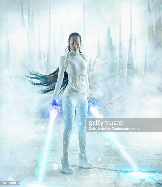 Futuristic Pacific Islander woman holding glowing light sabers