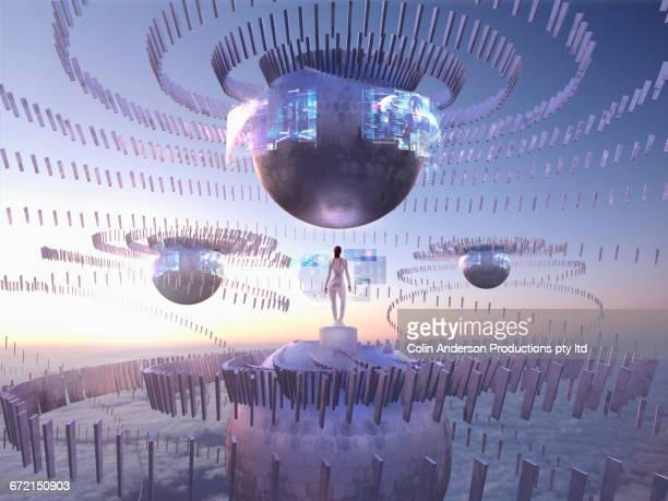 Futuristic Pacific Islander woman on sphere in sky watching holograms