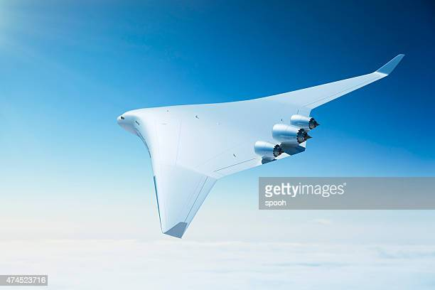 futuristic passenger airplane with blended wing body design - aircraft stock photos and pictures