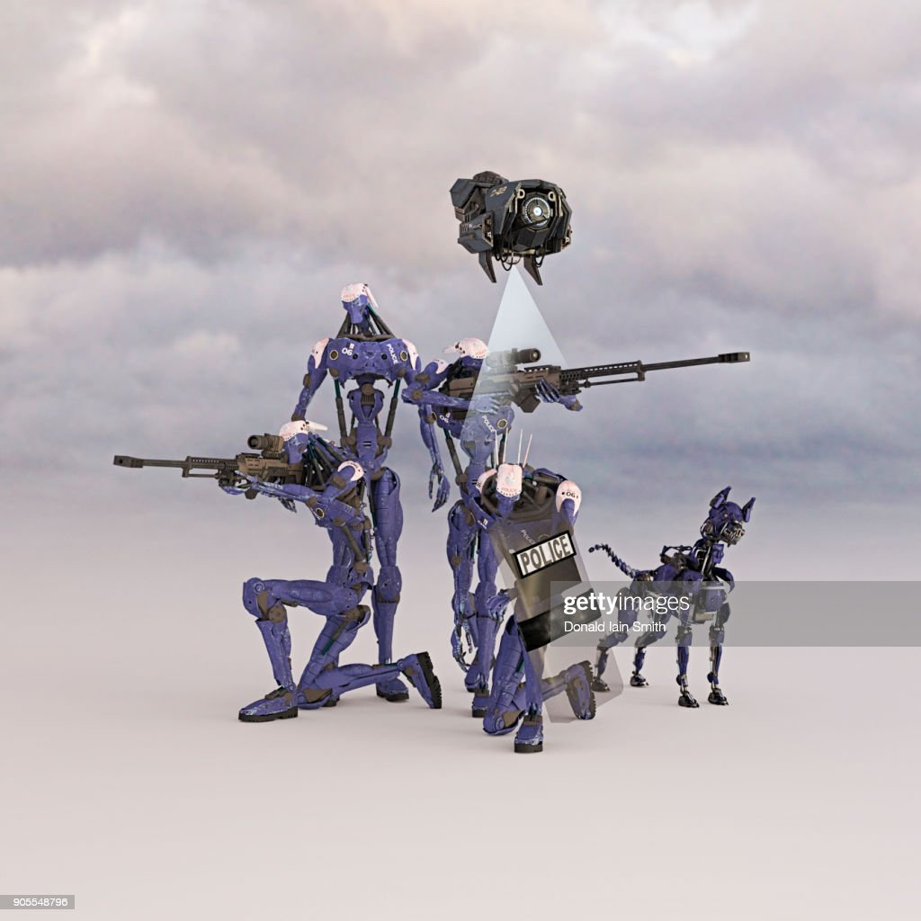 Futuristic police force and drone with robot dog : Stock Photo