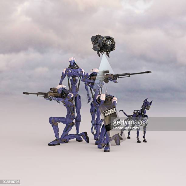 Futuristic Police Force And Drone With Robot Dog