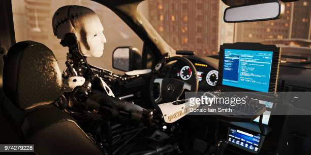 Futuristic police robot using computer terminal inside police car