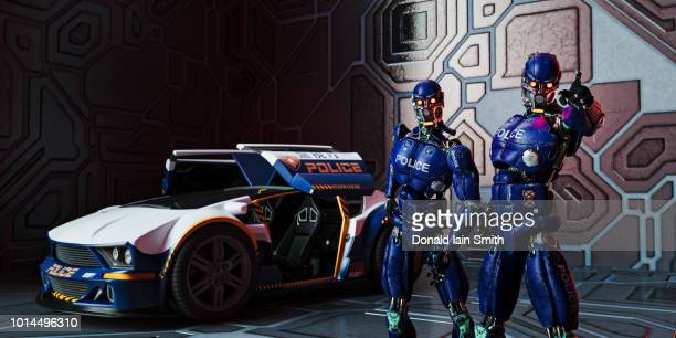 Futuristic police robots standing beside police car searching and pointing