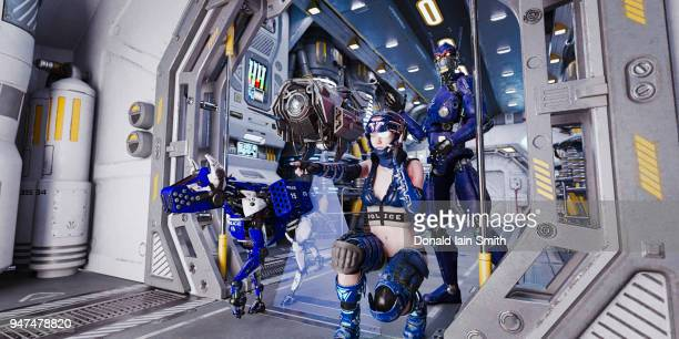futuristic police woman with robot, drone and robodog - space station stock pictures, royalty-free photos & images