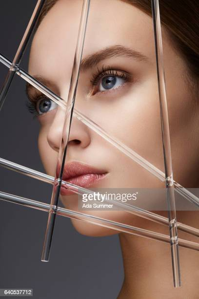 futuristic portrait of a beautiful woman with perfect skin