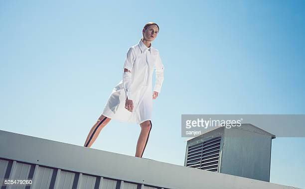 Futuristic portrait of a fashion model