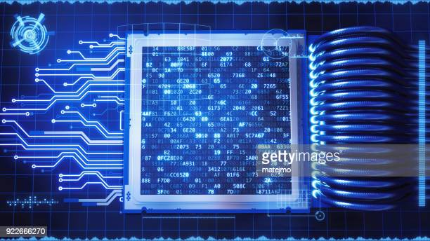 futuristic processor with graphical interface - hud graphical user interface stock photos and pictures