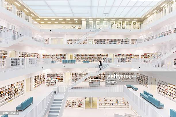 futuristic public library - stuttgart stock pictures, royalty-free photos & images