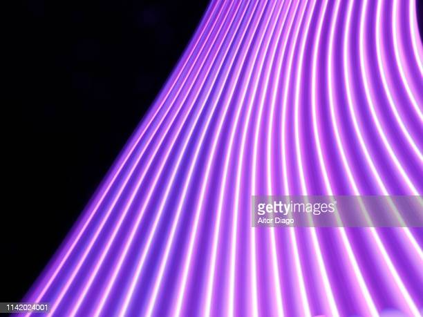 futuristic purple ascending path. black background. virtual environment. 3d. - broadcasting stock pictures, royalty-free photos & images