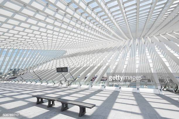futuristic railway station liège guillemins - liege stock pictures, royalty-free photos & images
