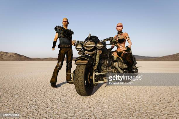 futuristic road warriors on motorcycle in desert - road warrior stock photos and pictures