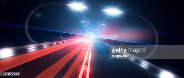 Futuristische Road vorbehalten-mit roten Ampel links nach oben rechts