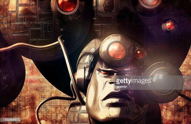 robot futuriste environnement dans sci-fi