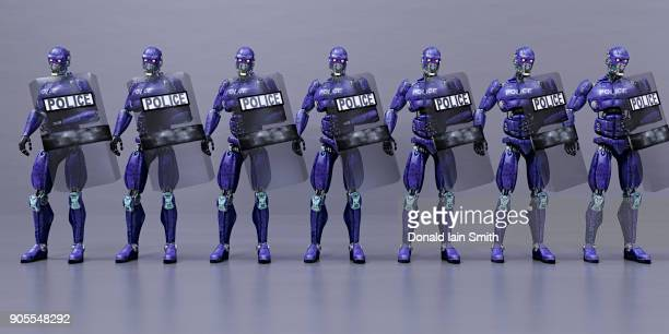 Futuristic robot police holding shields