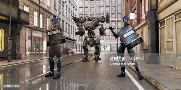 futuristic robot police standing in city street - guarding stock photos and pictures