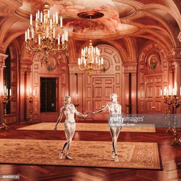 Futuristic robot women standing in ballroom
