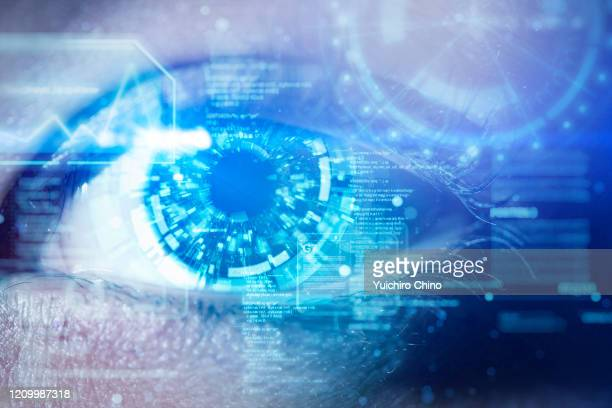 a futuristic robotic eye with user interface screen - the eyes have it stock pictures, royalty-free photos & images