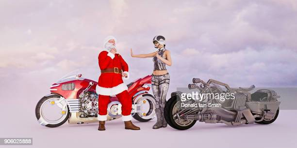 Futuristic Santa stopped for speeding on motorcycle