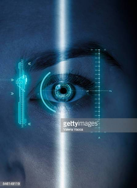 Futuristic scan of a woman's eye with graphics