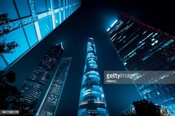 Futuristic Shanghai Pudong Skyscrapers at Night