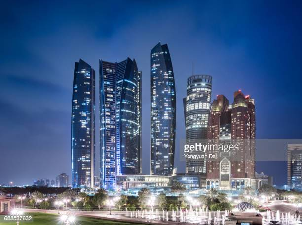 Futuristic Skyscrapers in Abu Dhabi at Night