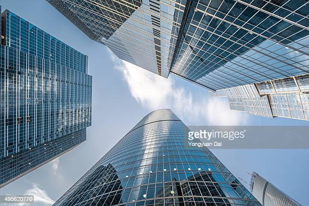 futuristic skyscrapers in moscow - moscow international business center stock photos and pictures