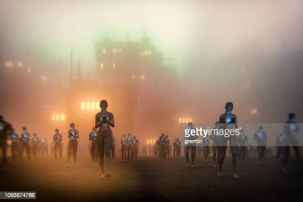 futuristic smart phone users - zombie stock pictures, royalty-free photos & images