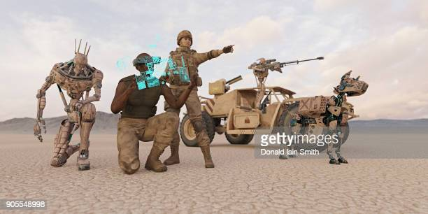 futuristic soldiers and robot dog in desert - armi foto e immagini stock