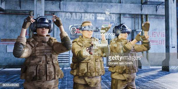 Futuristic soldiers wearing virtual reality goggles