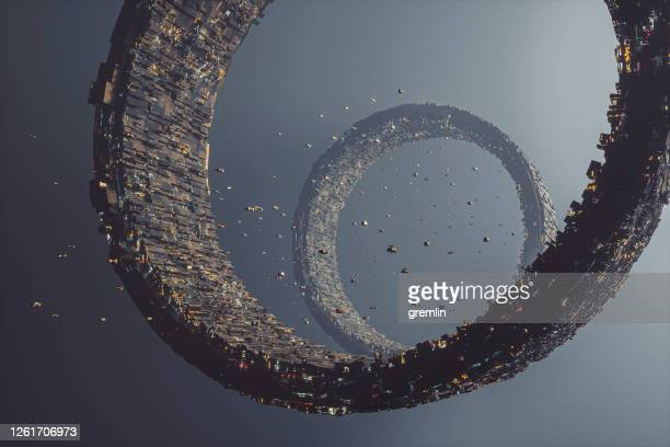 futuristic space city rings - space travel vehicle stock pictures, royalty-free photos & images