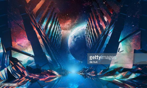 futuristic space tunnel 80s style. 3d render - fictional character stock pictures, royalty-free photos & images
