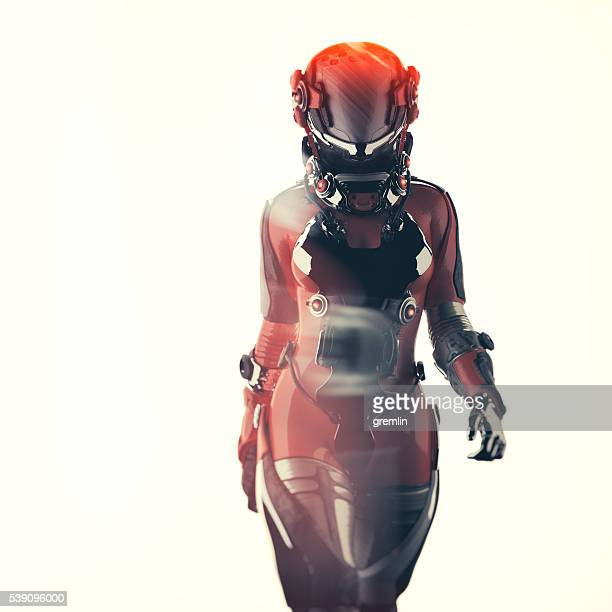 futuristic spacesuit, astronaut, cyborg - alien stock photos and pictures