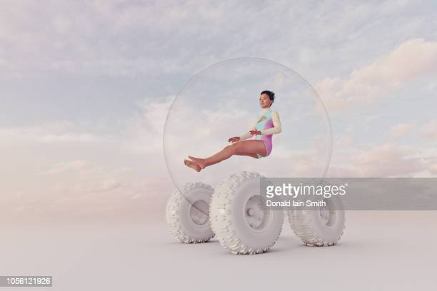 futuristic spherical four wheel car - driverless car stock pictures, royalty-free photos & images