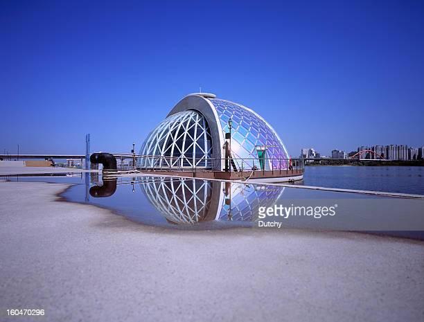 Futuristic stage alongside Han River in Seoul