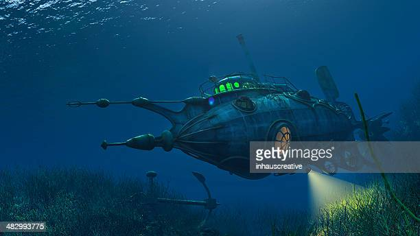 futuristic steampunk submarine - steampunk stock pictures, royalty-free photos & images