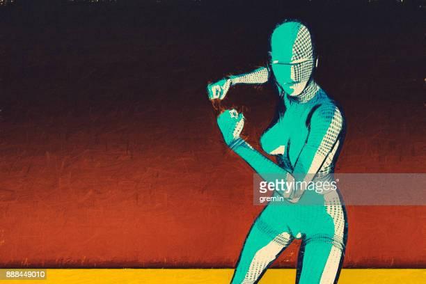 Futuristic superhero in cartoon style