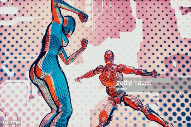 futuristic superhero robot fight in cartoon style - animation stock pictures, royalty-free photos & images