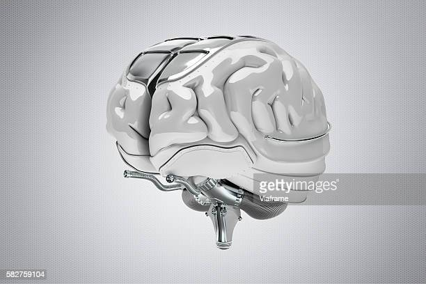 Futuristic, synthetic brain made of metal and plastic
