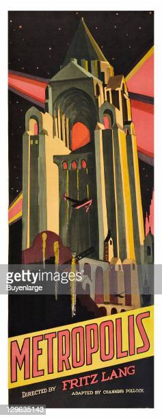 Futuristic tall Skyscraper on a poster that advertises the movie 'Metropolis' 1927