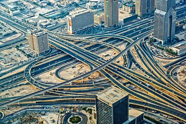 Futuristic Traffic Junction In Dubai, United Arab Emirates Wall Art