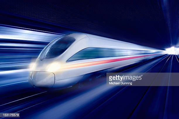 Futuristic train at speed