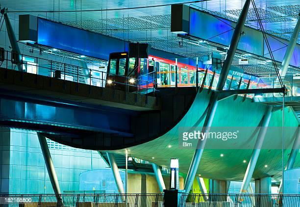 Futuristic Train Station at Night