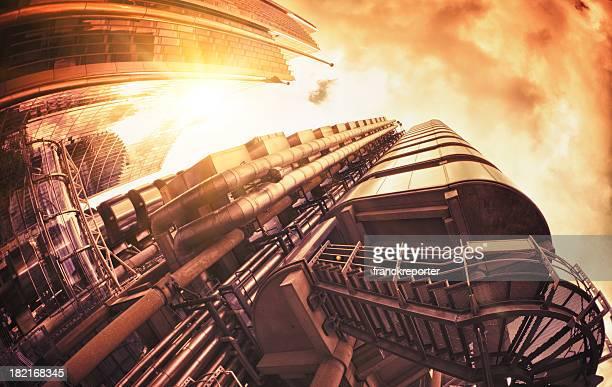 Futuristic tube steel building at dusk